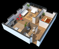 3D sectioned apartment. With furniture with clipping path Stock Photos