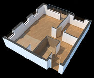 3D sectioned apartment. Empty with clipping path Stock Images
