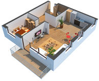 3D sectioned apartment with clipping path Royalty Free Stock Image