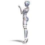 3d seksowny renderingu żeński kruszcowy robot ilustracji