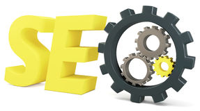 3d seo Search Engine gears Stock Photo