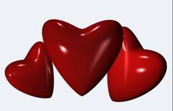 3d serce czerwień trzy ilustracja wektor
