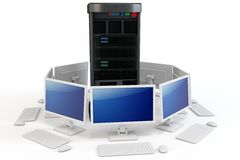 3d server with computer terminals. 3d server with computer terminlsl on white background Royalty Free Stock Image