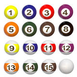3d set of Pool balls. A 3d rendered set of 15 Pool balls with a reflection on the balls Royalty Free Stock Photography
