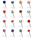 3D set of pushpins with flags Stock Photos