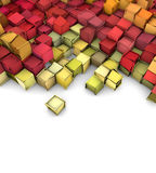 3d shape backdrop in red yellow orange Royalty Free Stock Photos