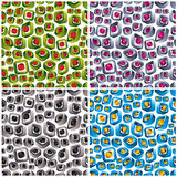 3d shapes seamless patterns. 3d shapes seamless patterns, vector techno abstract backgrounds collection Stock Photos