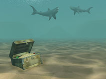 3d sharks floating above a box with treasures. 3d sharks floating above a wooden box with treasures Stock Images