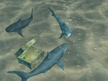 3d sharks floating above a chest with treasures. 3d sharks floating above a box with treasures Royalty Free Stock Photography