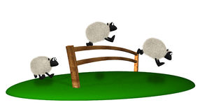 3d sheep jumping over fence. Counting sheeps Stock Photo