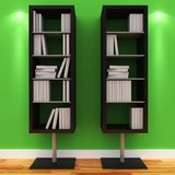 3d shelves with blank books stock illustration