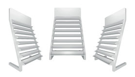 3D shelves and shelf. For wrap advertising on a white background. Isolated Stock Photo