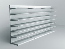 3D shelves and shelf. For wrap advertising on a white background Royalty Free Stock Photography