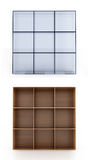 3D shelves on white background Stock Photos