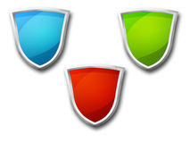 3D Shield set. Set of 3 shields isolated on a white background Royalty Free Stock Photo