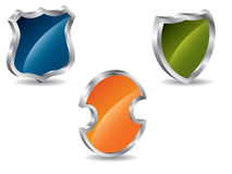 3d shields. With metallic wrapping Royalty Free Stock Image