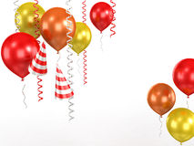 3d shiny ballons. 3d shiny red ballons  on white background Stock Photo