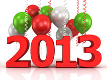 3d shiny ballons and data 2013. 3d shiny red ballons  on white background Stock Photo