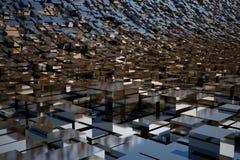 3d shiny chrome abstract background. Stock Photos