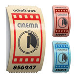 3d shiny curled cinema tickets. Illustration for the web Royalty Free Stock Photo