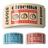 3d shiny curled cinema tickets. Illustration for the web Stock Photos