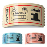 3d shiny curled cinema tickets. Illustration for the web Stock Photo