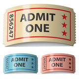 3d shiny curled tickets. Illustration for the web Royalty Free Stock Photos