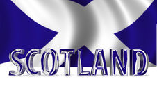 3D Shiny Scotland text. 3D Shiny Scotland graphic text in Scottish colours on white background Stock Photo