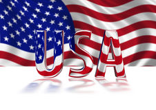 3D Shiny USA text. 3D Shiny USA graphic text in American colours with Stars and Stripes billowing in background Stock Photos