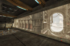 3D ship interior. Modeled interior of a ship or other vessel royalty free stock photography