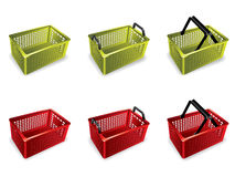 3D shopping basket. Green and red 3D plastic shopping basket Stock Images