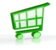 3D shopping cart. Green shopping cart in 3D isolated over white stock illustration