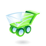 3d shopping cart. Green and blue 3d shopping cart Royalty Free Stock Images