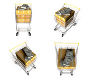 3d shopping cart array Royalty Free Stock Images
