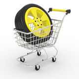 3d shopping cart with big car wheel Royalty Free Stock Images