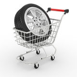 3d shopping cart with big car wheel Royalty Free Stock Photography