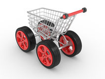 3d shopping cart with big car wheel Royalty Free Stock Photos