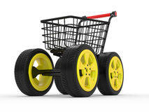 3d shopping cart with big car wheel Stock Image
