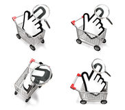 3d shopping cart and big cursor range four set Stock Photo