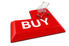 3d shopping cart on BUY button Royalty Free Stock Photos