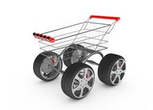 3d shopping cart with car wheel isolated Royalty Free Stock Image