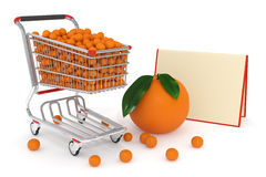 3d Shopping cart full of oranges Stock Photo