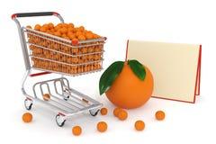 3d Shopping cart full of oranges Stock Photo