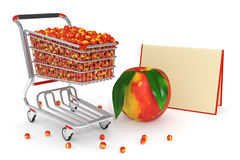 3d Shopping cart full of peaches Royalty Free Stock Photography