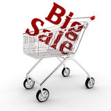 3d shopping cart isolated on white Stock Photography