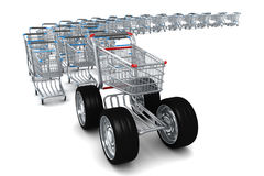 3d Shopping cart leader with big wheels Stock Images