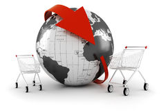 3d shopping cart, online commerce concept Royalty Free Stock Photography