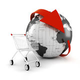 3d shopping cart, online commerce concept Royalty Free Stock Photos