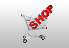 3d shopping cart with shopping characters Stock Photos