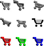 3D Shopping Carts Royalty Free Stock Images